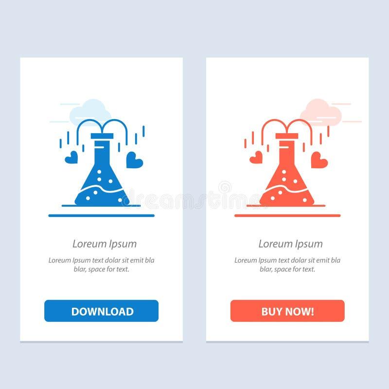 Химикат, склянка, сердце, синь любов и красная загрузка и купить теперь шаблон карты приспособления сети бесплатная иллюстрация