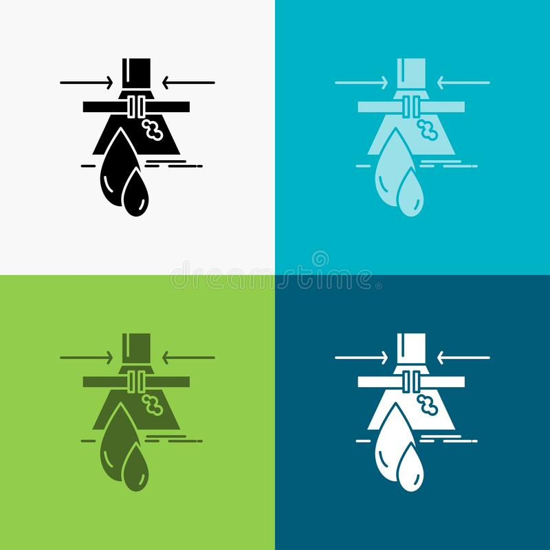 Химикат, утечка, обнаружение, фабрика, значок загрязнения над различной предпосылкой r 10 eps иллюстрация штока