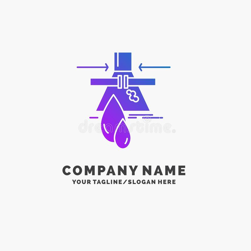 Химикат, утечка, обнаружение, фабрика, шаблон логотипа дела загрязнения пурпурный r иллюстрация вектора