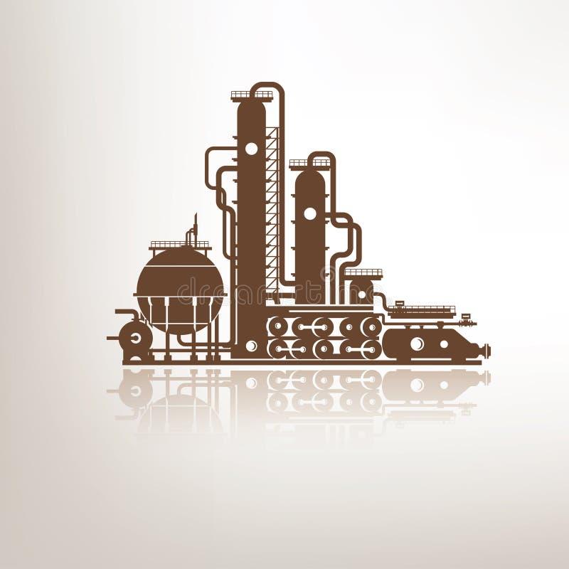 Химикат, petrochemical или завод по обработке иллюстрация вектора