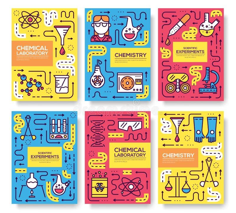 Химики Biohazard утончают линию комплект карточки брошюры Шаблон flyear, кассеты химической лаборатории, плакат, обложка книги, з иллюстрация вектора