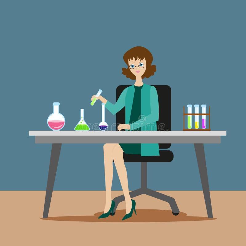 Химик или ассистент девушки проводят химические или биологические эксперименты на смешивая решениях Новые научные открытия иллюстрация вектора