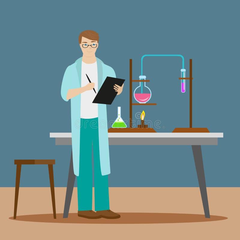 Химик или ассистент пишут вниз результаты химической реакции к папке Новые научные открытия плоско бесплатная иллюстрация
