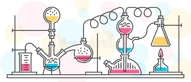 Химическая реакция состоя из склянок и инструментов в химической лаборатории бесплатная иллюстрация