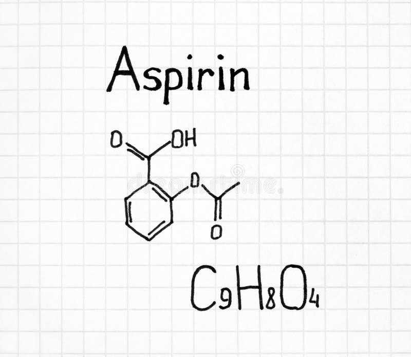 Химическая формула почерка аспирина стоковая фотография rf