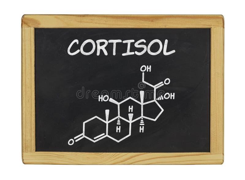 Химическая формула кортизола на доске стоковое фото rf