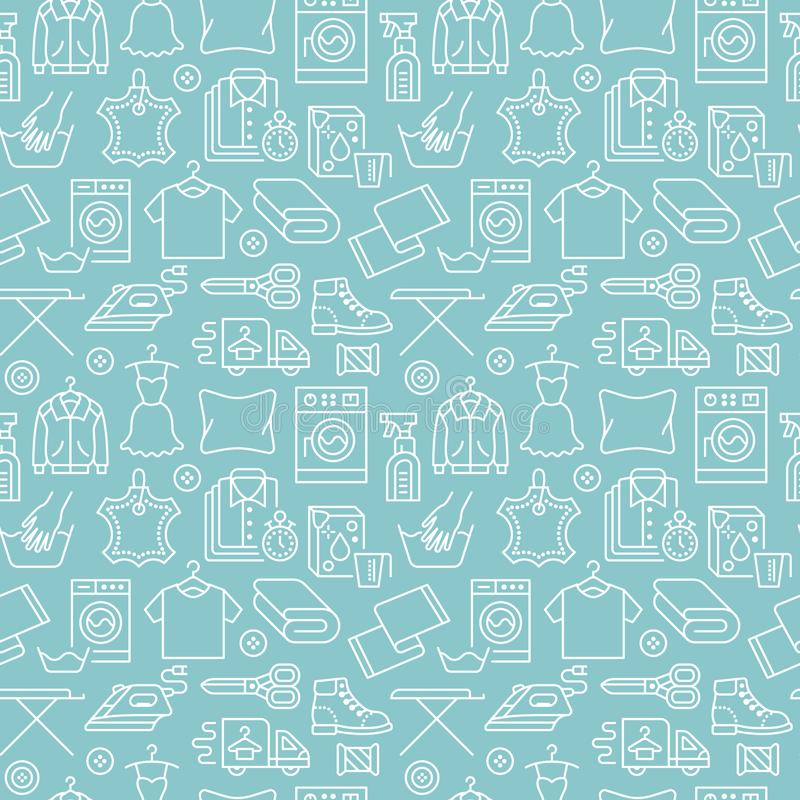 Химическая чистка, картина сини прачечной безшовная с линией значками Оборудование обслуживания автоматической прачечной, стираль иллюстрация вектора