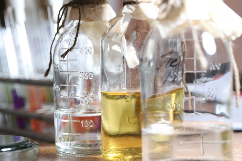 Химические реактанты в стеклянных емкостях стоят на полке в химической лаборатории Уносить научных исследований стоковое изображение rf