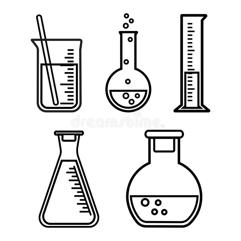 Химические сосуды, дизайн плана r иллюстрация вектора