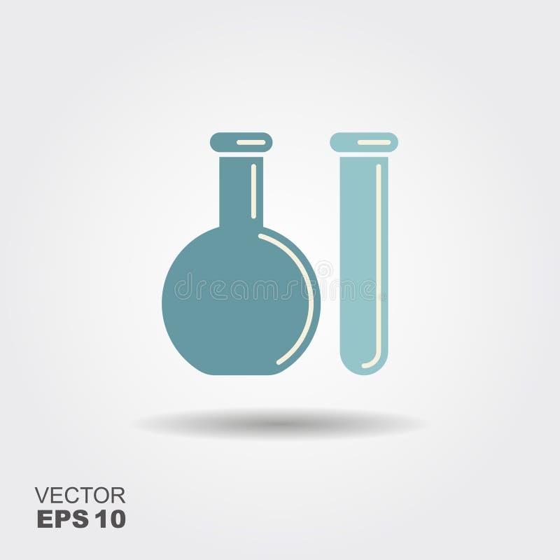 Химический флакон и пробирка сеть вектора логоса глобуса иллюстрация вектора
