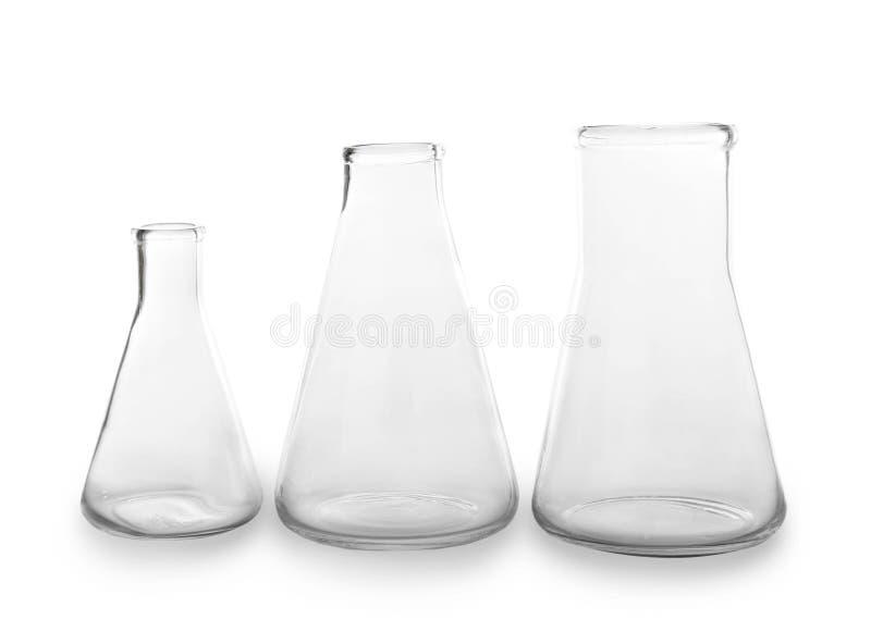 Химическое стеклоизделие на белой предпосылке стоковые изображения rf