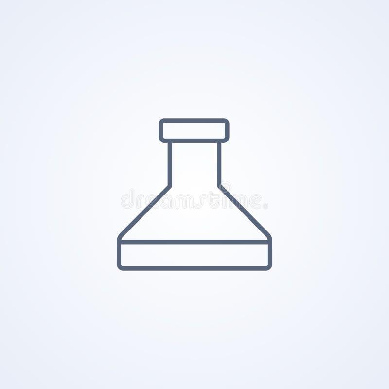 Химия, медицинский шарик, линия значок вектора самая лучшая серая иллюстрация штока