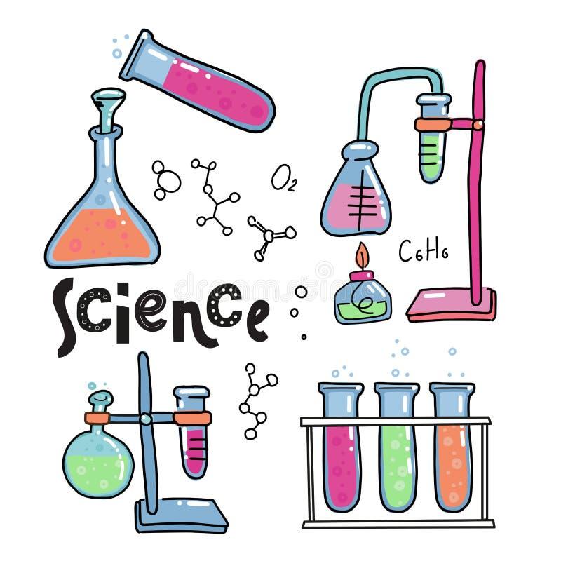 Химия цвета руки вычерченные и набор значков науки Собрание лабораторного оборудования в стиле doodle Химия и наука ребенк иллюстрация вектора