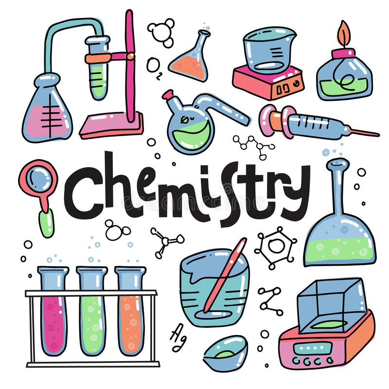 Химия цвета руки вычерченные и набор значков науки Собрание лабораторного оборудования в стиле doodle Лаборатория и наука ребенк  иллюстрация штока