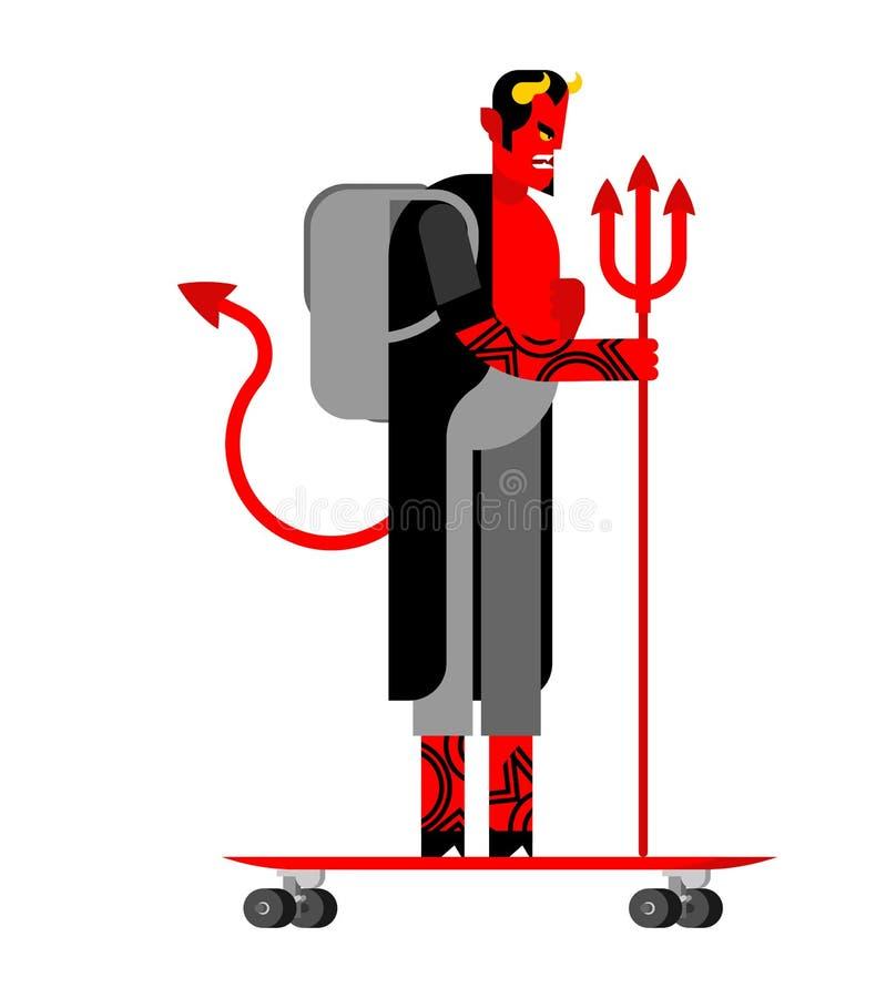 Хипстер и longboard дьявола Взгляд Satan модный Мод-торговец демона бородатый Иллюстрация вектора Lucifer иллюстрация вектора