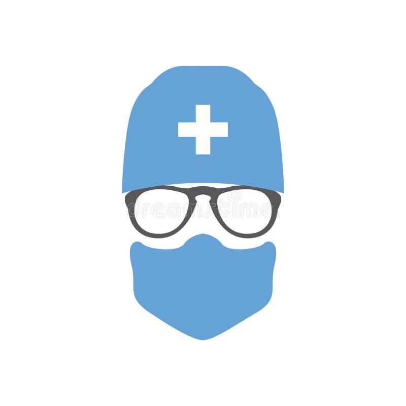 Хирург доктора воплощения в шляпе и маске иллюстрация штока