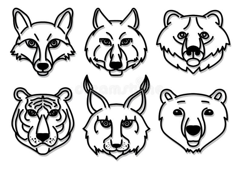 Хищники диких животных головные иллюстрация штока