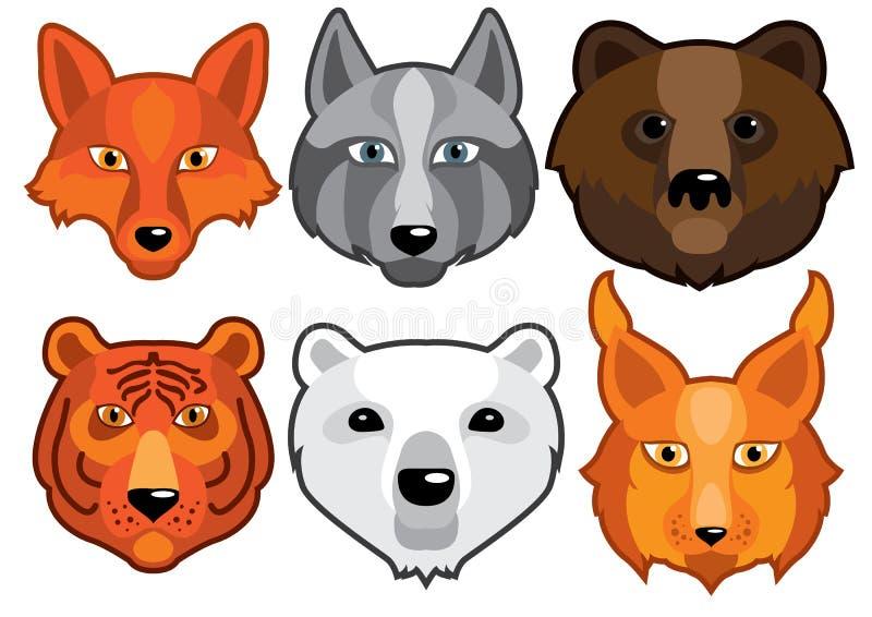 Хищники диких животных головные иллюстрация вектора