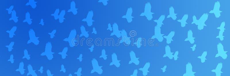 Хищники летящих птиц предпосылки заголовка иллюстрация штока