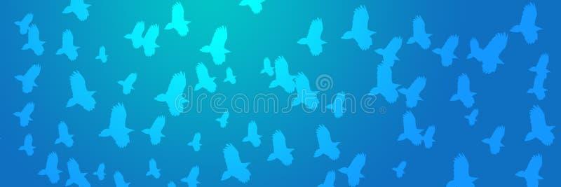 Хищники летящих птиц предпосылки заголовка иллюстрация вектора