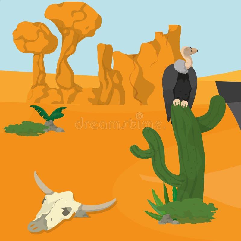 Хищники на пустыне иллюстрация штока
