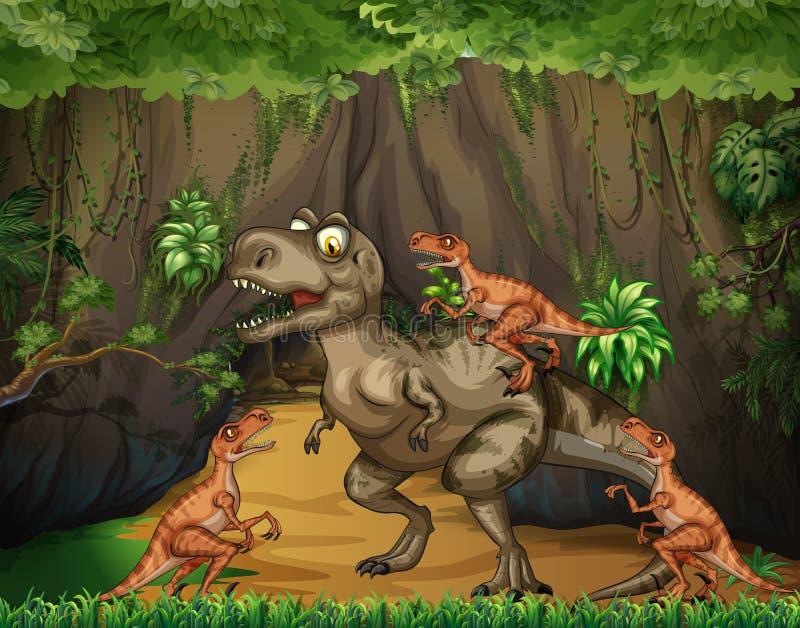 Хищники T-Rex воюя в лесе бесплатная иллюстрация