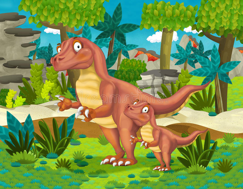 Хищник динозавра шаржа счастливый с ребенком бесплатная иллюстрация