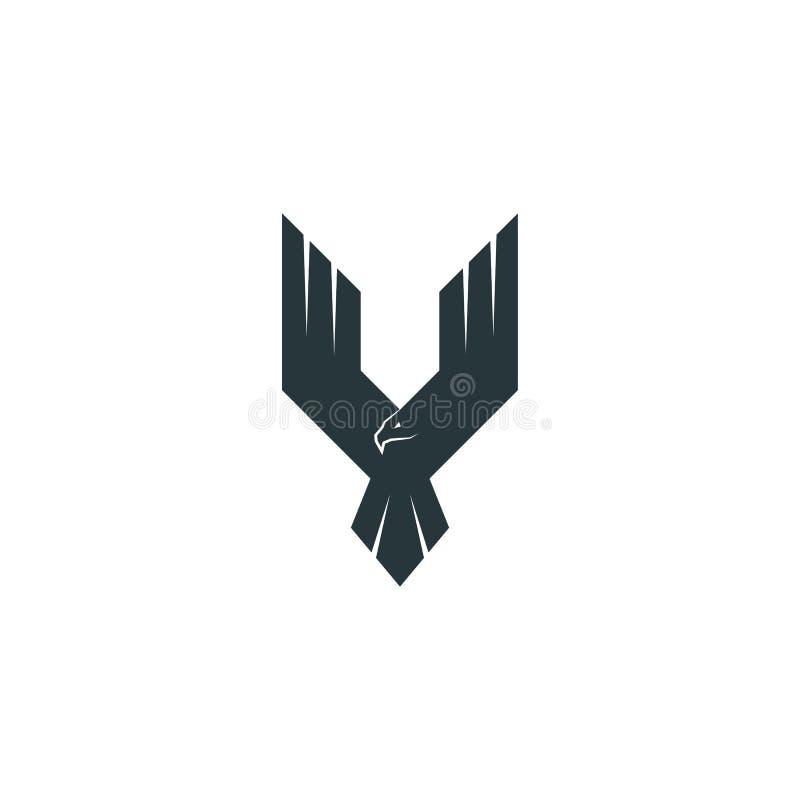 Хищник логотипа орла силуэта, крылья вверх по ястребу летания, абстрактной форме Фениксу иллюстрация штока