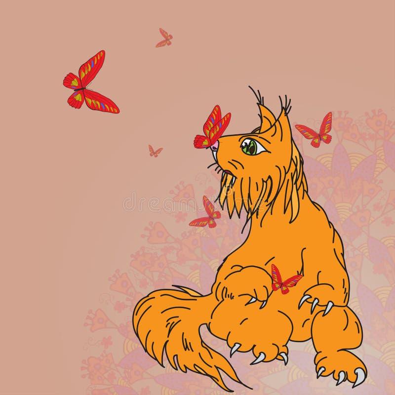 Хищник фантазии doodling покрашенная белка кота иллюстрация вектора