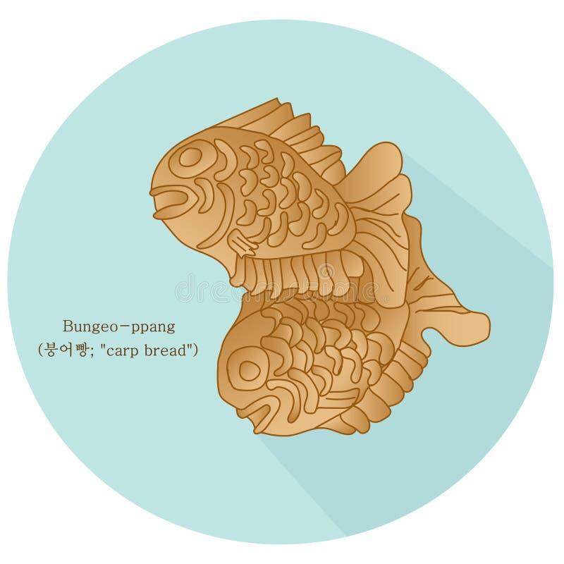 ` Хлеба карпа ` Bungeo-ppang - в форме рыб печенье заполненное с услащенной завалкой затира красной фасоли иллюстрация вектора