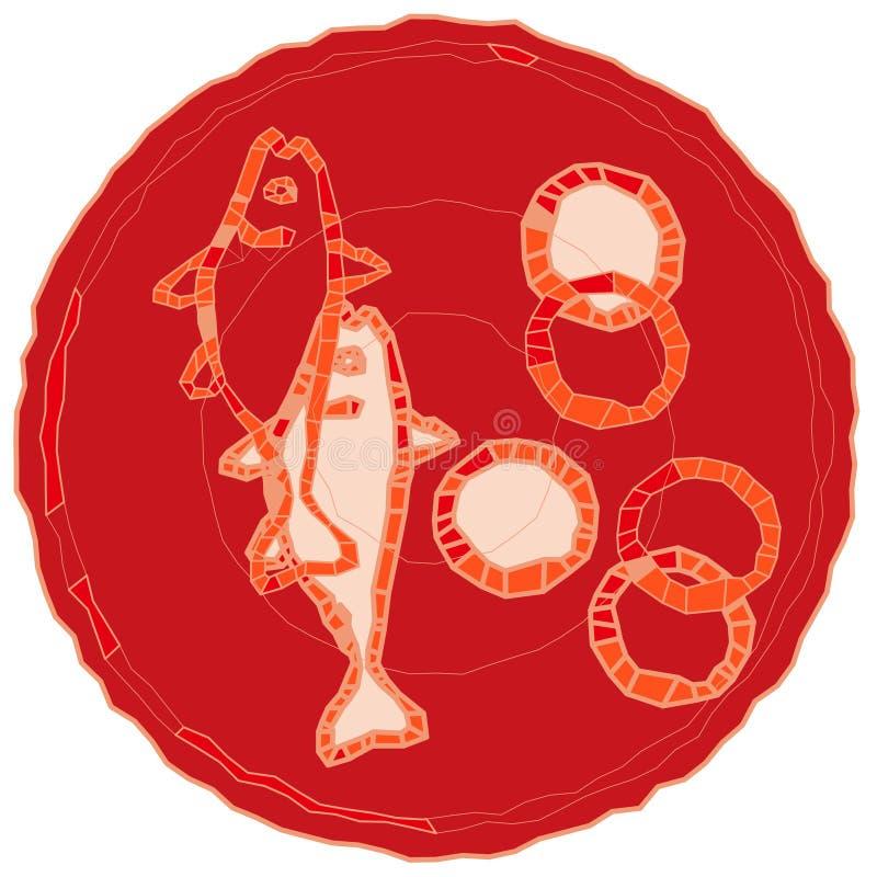 5 хлебцев и 2 рыбы иллюстрация штока