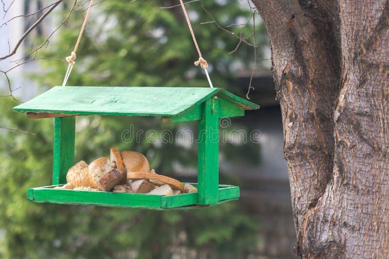 Хлеб для диких птиц в фидере стоковое фото
