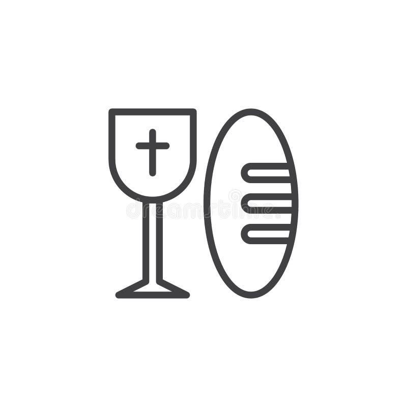Хлеб и святой значок плана чашки вина иллюстрация штока