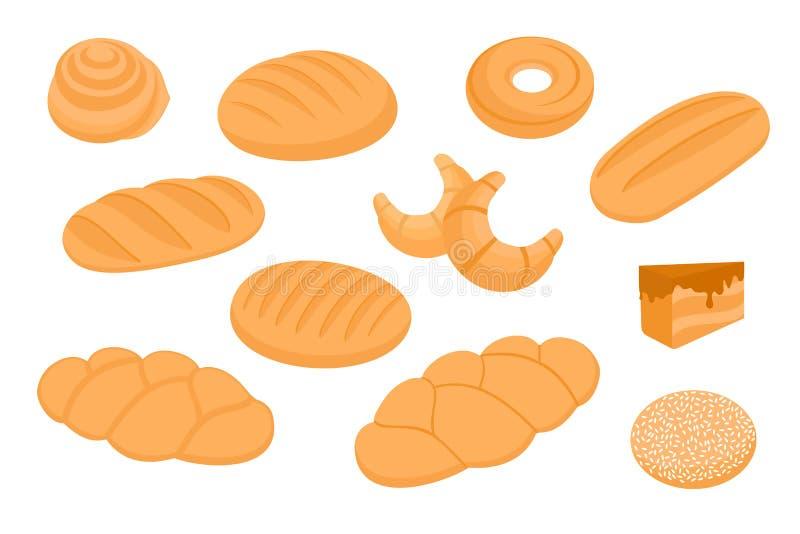 Хлеб bakersfield Свежая выпечка Установите значков Иллюстрация вектора запаса изолированная на белой предпосылке иллюстрация штока