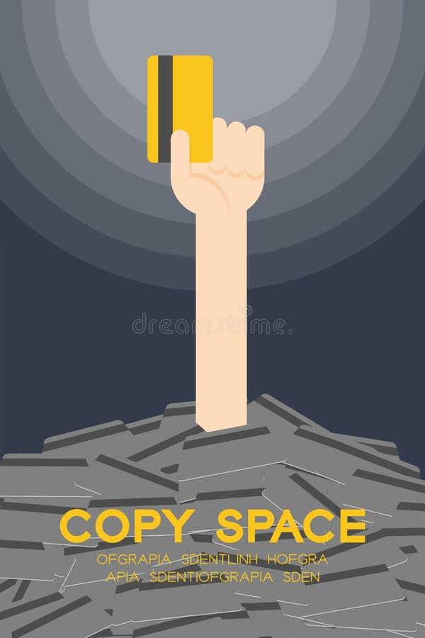 Хлопните вверх рука держа самую лучшую кредитную карточку среди много комплекта кредитной карточки иллюстрация штока