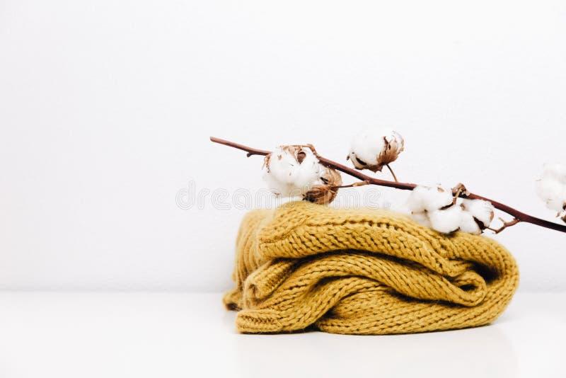 Хлопок с теплым свитером Предпосылка битника минимальная стоковые изображения rf