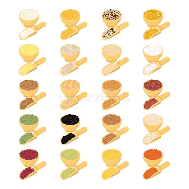 Хлопья в деревянном комплекте шара и ложки Рис и чечевицы Красная фасоль иллюстрация штока