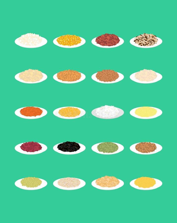 Хлопья в комплекте плиты Рис и чечевицы Красные фасоли и горохи Мозоль иллюстрация штока