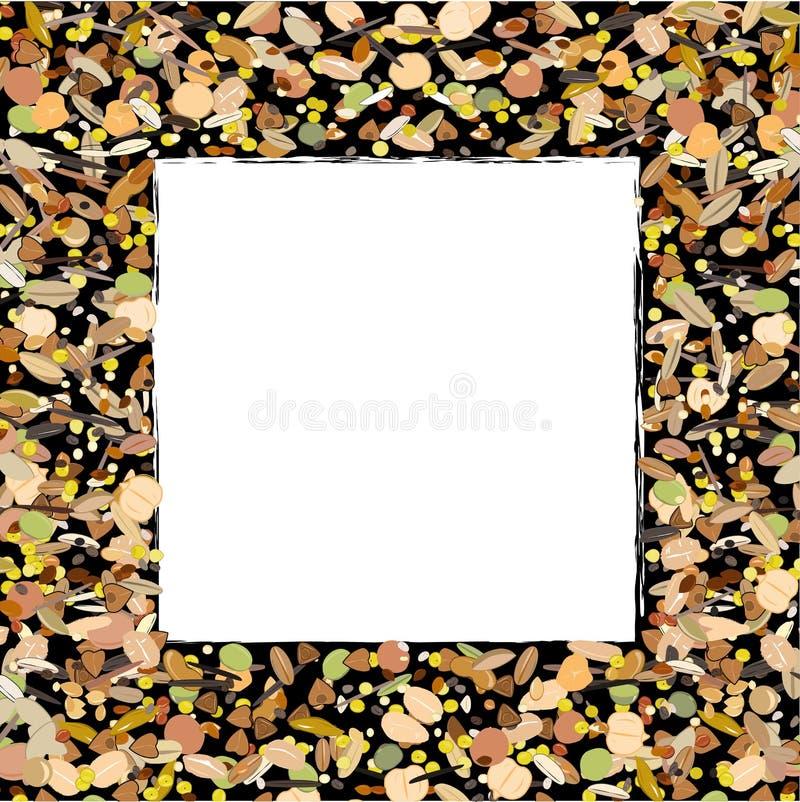 Хлопья, зерна, семена, и фасоли граничат рамку на белой предпосылке Предпосылка для органическая и естественная здоровой бесплатная иллюстрация