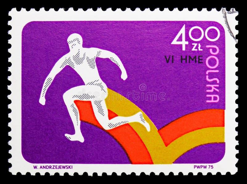 Хмель, шаг и скачка, 6-ые европейские крытые атлетические чемпионаты, serie Катовице, около 1975 стоковая фотография