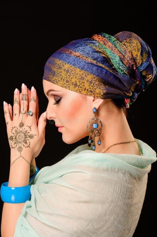 Хна, мода, девушка, дама, состав, татуировка, вуаль, oriental, musl стоковая фотография
