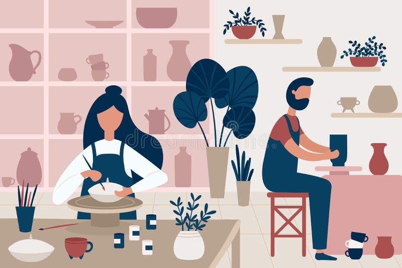 хобби гончарни Handcrafted керамика, люди украшая баки и иллюстрацию вектора мастерской гончарни ремесленничества плоскую бесплатная иллюстрация