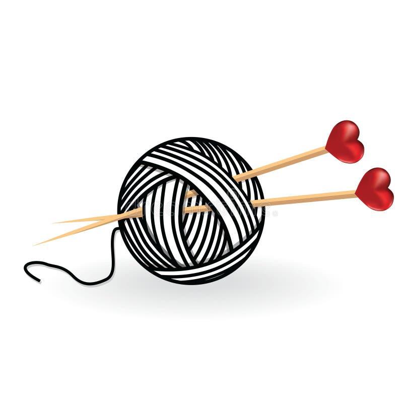 Хобби изолятов вязать иглы шерстей сердца handcraft логотип иллюстрация вектора