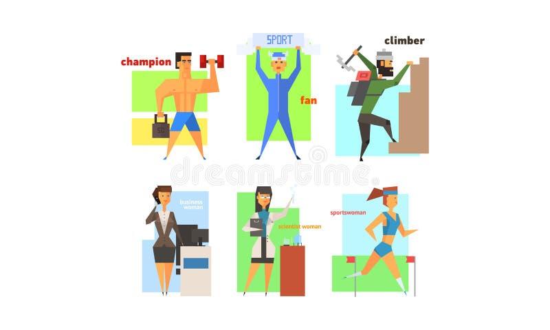 Хобби людей, профессия и набор образа жизни, чемпион, вентилятор спорт, альпинист, коммерсантка, ученый, вектор спортсменки иллюстрация штока