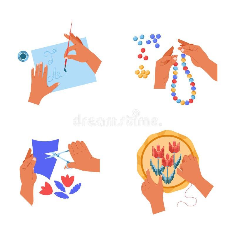 Хобби ремесленничества рук и картина искусства режа вышивку и шарики иллюстрация вектора