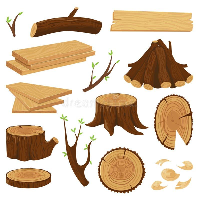Хобот тимберса деревянный Штабелированный швырок, внося в журнал стволы дерева и куча деревянным изолированного журналом набора в иллюстрация вектора