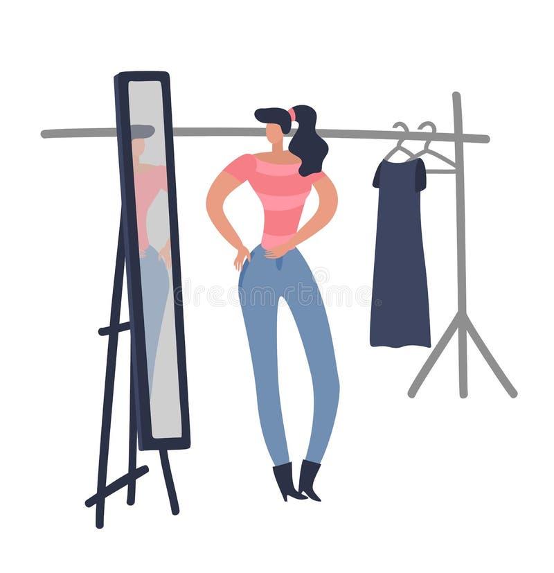 Ходить по магазинам женщин Девушка пробует на ткани моды женской смотря платье дизайна женщины новое в векторе комнаты бутика маг иллюстрация вектора