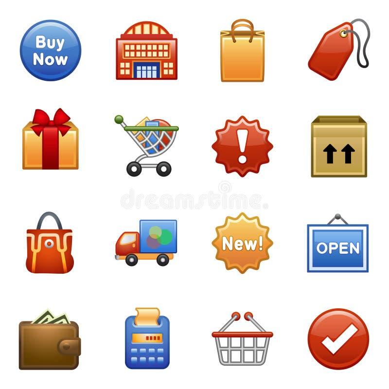 ходить по магазинам икон стилизованный иллюстрация вектора