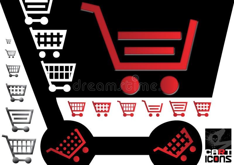 ходить по магазинам икон тележки стоковое изображение rf