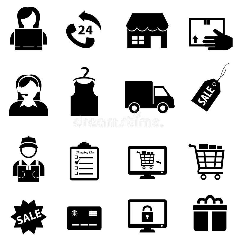 Ходить по магазинам и онлайн комплект значка электронной коммерции иллюстрация штока